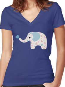 Elephant Seamless background Women's Fitted V-Neck T-Shirt