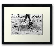Girl's Legs Wearing Boots in the Desert Framed Print