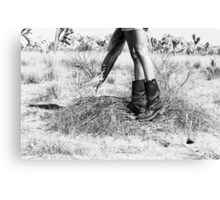Girl's Legs Wearing Boots in the Desert Canvas Print