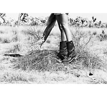 Girl's Legs Wearing Boots in the Desert Photographic Print