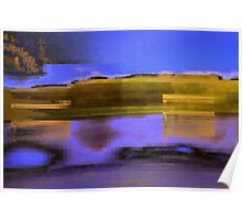 Landscape corrupted by abstract elements Poster