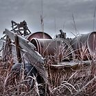 Old wagon in field by pdsfotoart