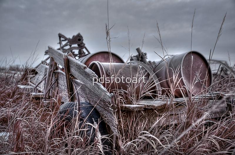 Old wagon in field by pdsfotoart