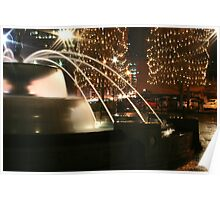 Christmas Fountain Nightlife Poster