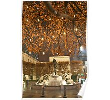 Christmas Fountain Statue with Lights Poster
