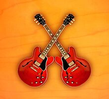 Double red gibson es 335 v1 ipad Case by goodmusic