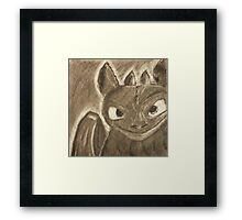 Toothless Charcoal Framed Print