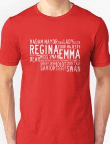 Swan Queen Nicknames (red) Unisex T-Shirt