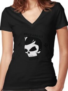 rockabilly rebel (white skull) Women's Fitted V-Neck T-Shirt