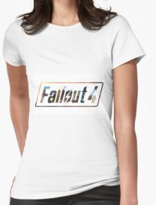 Fallout 4 Logo White Womens Fitted T-Shirt