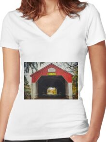 Uhlerstown Covered Bridge IV Women's Fitted V-Neck T-Shirt