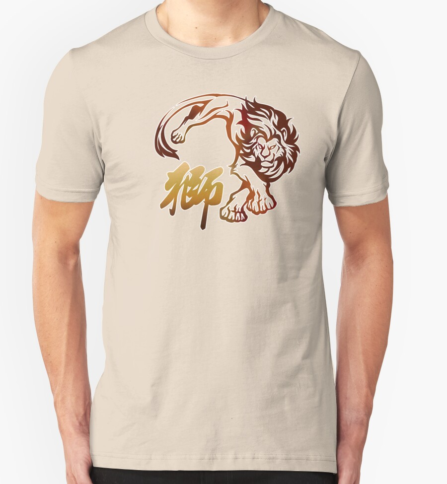 Lion tribal tattoo with chinese character t shirts for Tribal tattoo shirt