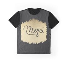 "Swanky & Elegant French ""Merci"" Quote on Black Graphic T-Shirt"