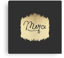 "Swanky & Elegant French ""Merci"" Quote on Black Canvas Print"