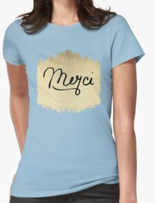 "Swanky & Elegant French ""Merci"" Quote on Black Womens Fitted T-Shirt"