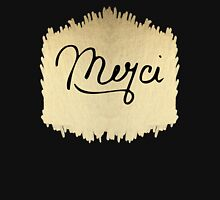 "Swanky & Elegant French ""Merci"" Quote on Black Unisex T-Shirt"