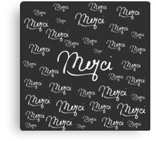 """Merci"" French Quote Black & White Pattern Canvas Print"