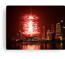 TV Tower Firework Canvas Print