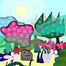 Cute little baby elephant in magic forrest by CatchyLittleArt