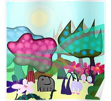Cute little baby elephant in magic forrest Poster