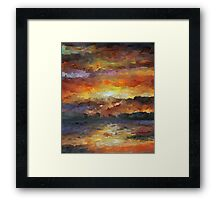 Impressionist Abstract Sunset Sunrise Ocean  Framed Print