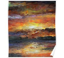 Impressionist Abstract Sunset Sunrise Ocean  Poster