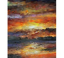 Impressionist Abstract Sunset Sunrise Ocean  Photographic Print