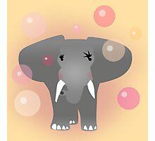 Elephant and aqua bubbles Photographic Print