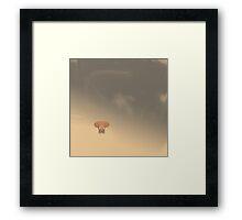 Tiny little elephant in the endless desert Framed Print