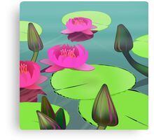 Pink lotuses on green-grey water Canvas Print
