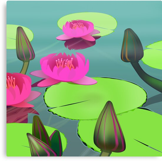 Pink lotuses on green-grey water by CatchyLittleArt