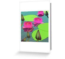Magenta lotuses and foggy morning Greeting Card