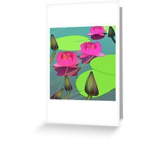 Magenta lotuses and foggy morning Greeting Card