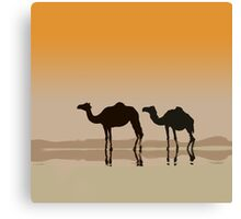 Dromedary camels and a mirage Canvas Print