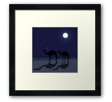 Dromedary camels in Sahara desert night Framed Print