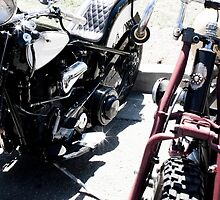Custom Motorcycles at a Rally by laurenelisabeth