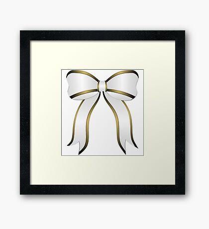 White Christmas Bow Framed Print