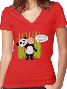 I will kick a Panda in the Bollocks - Karl Pilkington T Shirt Women's Fitted V-Neck T-Shirt