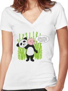 I will kick a Panda in the Bollocks - Karl Pilkington T Shirt Women's Fitted V-Neck T-Shirt