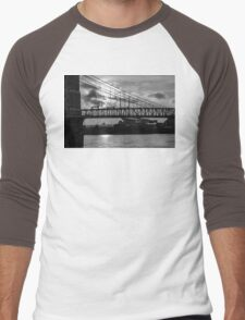 Cincinnati Suspension Bridge Black and White Men's Baseball ¾ T-Shirt