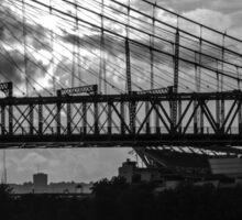 Cincinnati Suspension Bridge Black and White Sticker