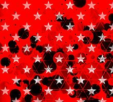 Red miltary starry background with aggressive black spheres by mikath