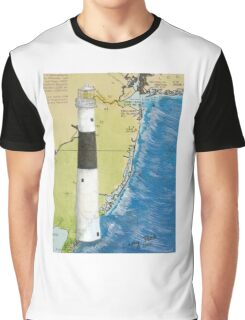 Absecon Lighthouse NJ Nautical Chart Cathy Peek Graphic T-Shirt
