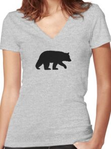 Black Bear Silhouette Women's Fitted V-Neck T-Shirt