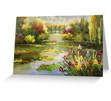 Water Lilies pond bridge impressionist flowers trees Greeting Card