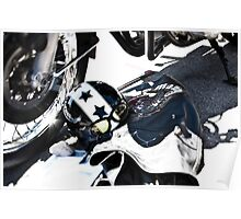 Motorcycle Helmet with Stars and Goggles Poster