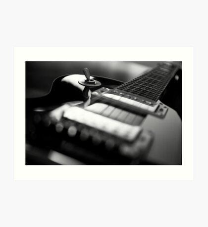 Guitar - Black White Art Print
