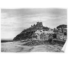 Criccieth Beach Wales UK Pencil Drawing Poster