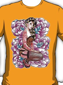 Tattooed Pin Up Girl with Roses T-Shirt