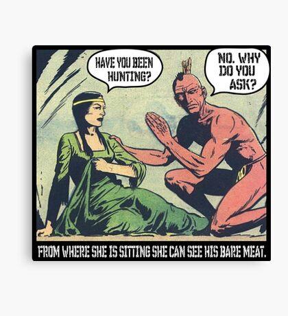 Humorous Vintage Comics- Bear Meat Joke Canvas Print
